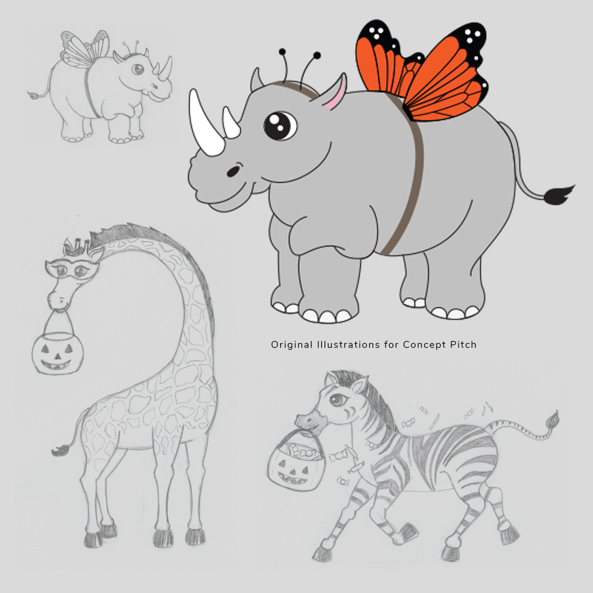 Boo at the zoo print pitch illustrations