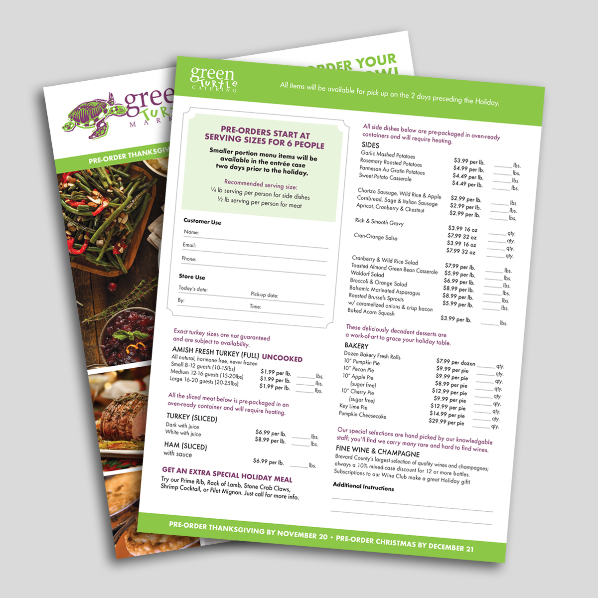 green turtle holiday catering print