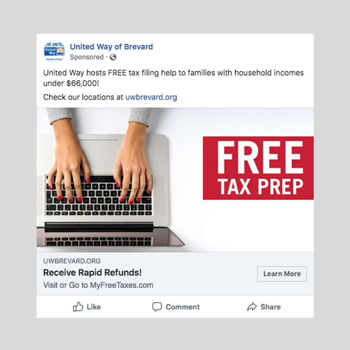 United way tax prep digital ad