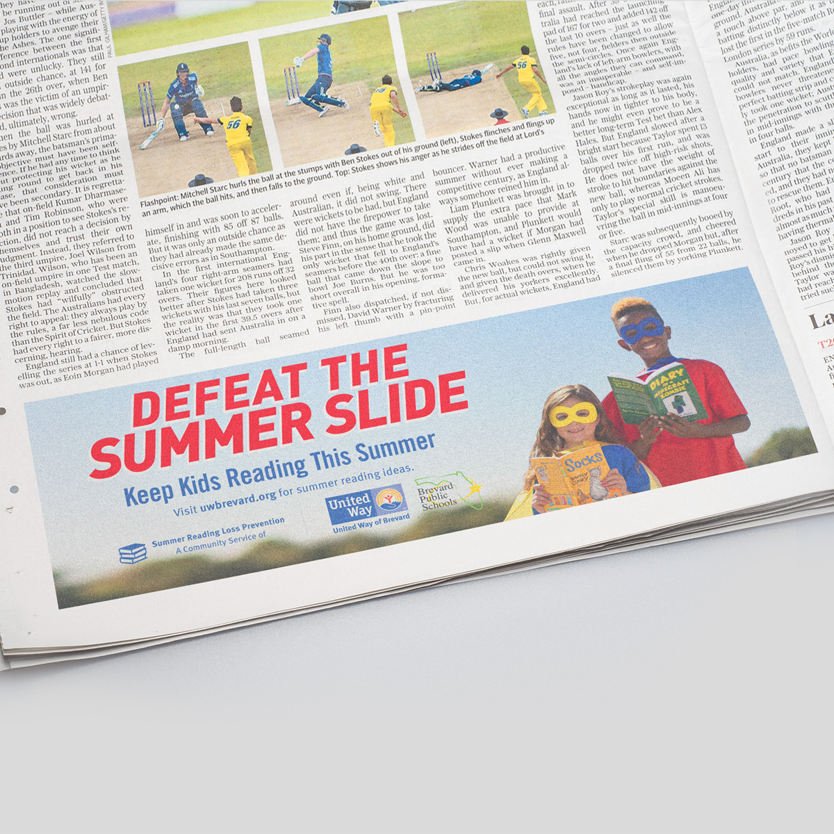 United way summer slide strip ad