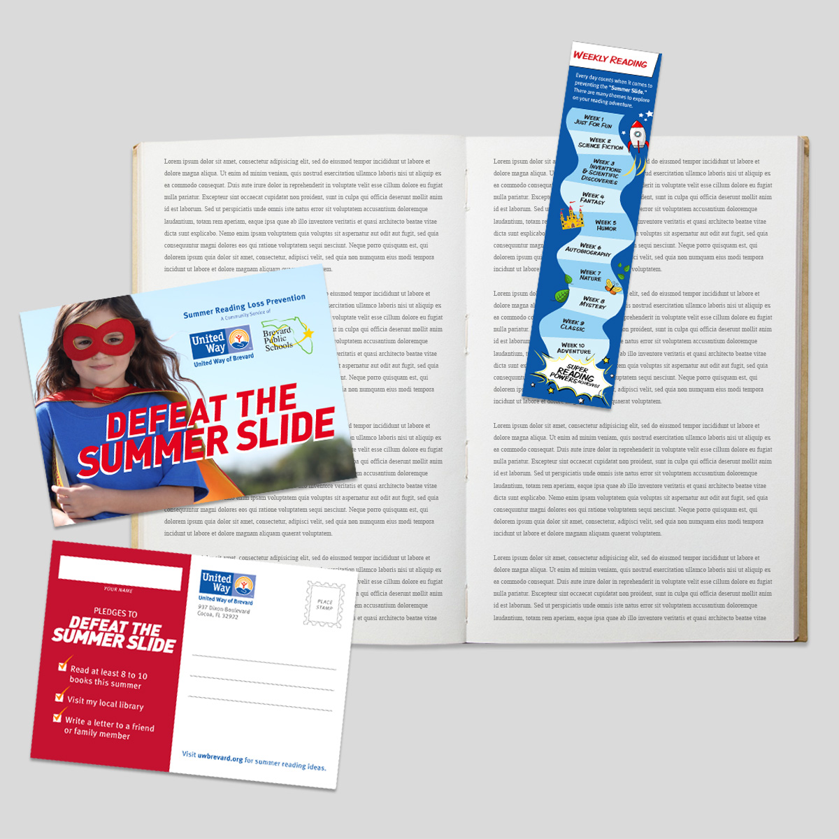 united way summer slide bookmark and postcard