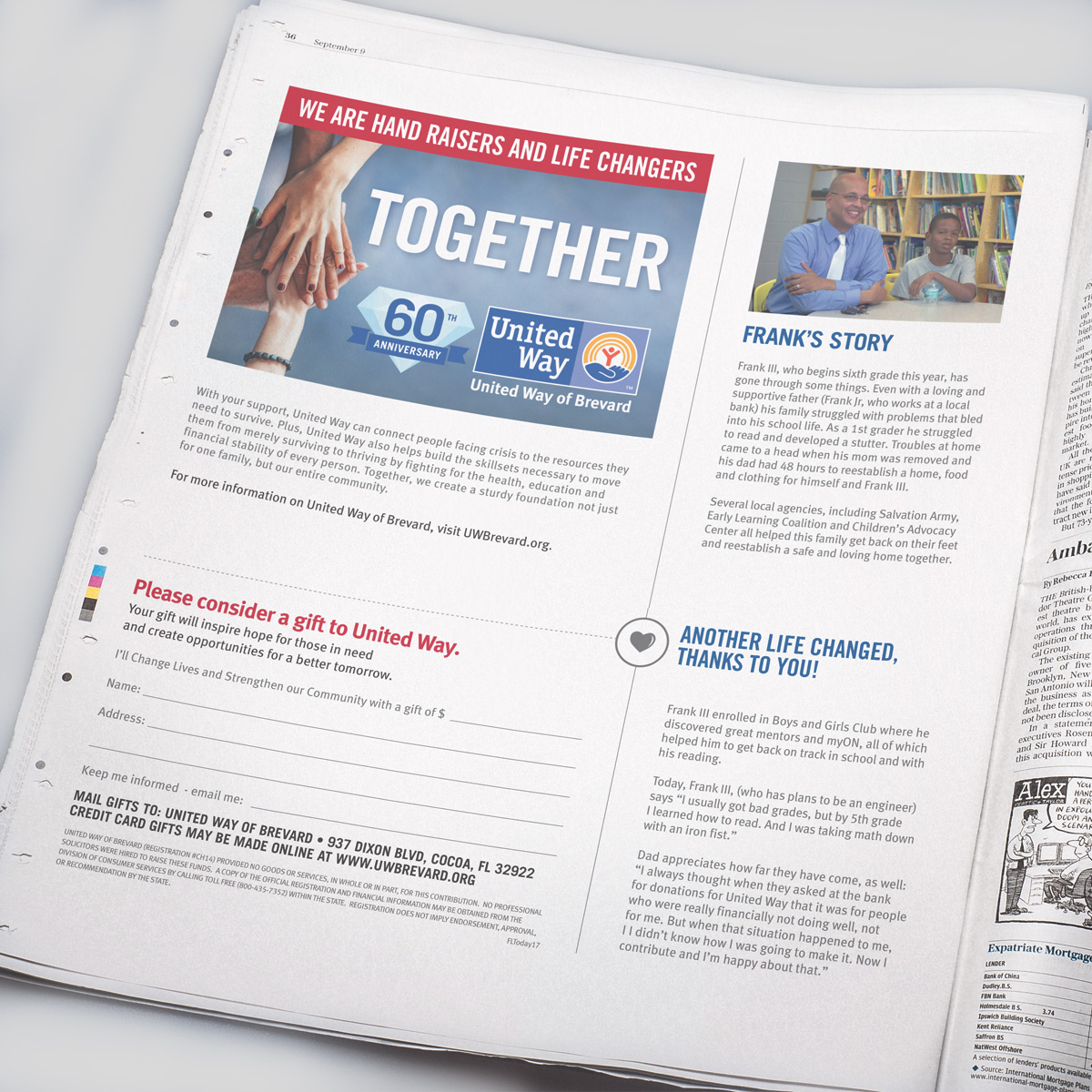 united way full page newspaper ad